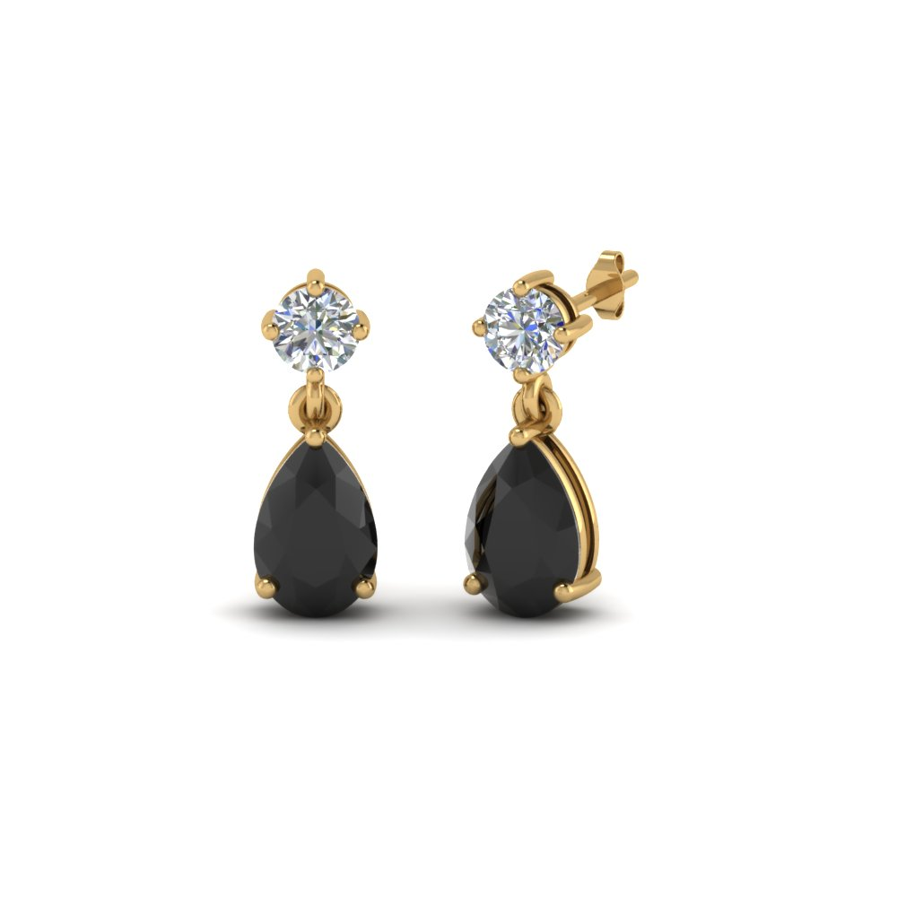 Black Diamond Pear Drop Stud Earring