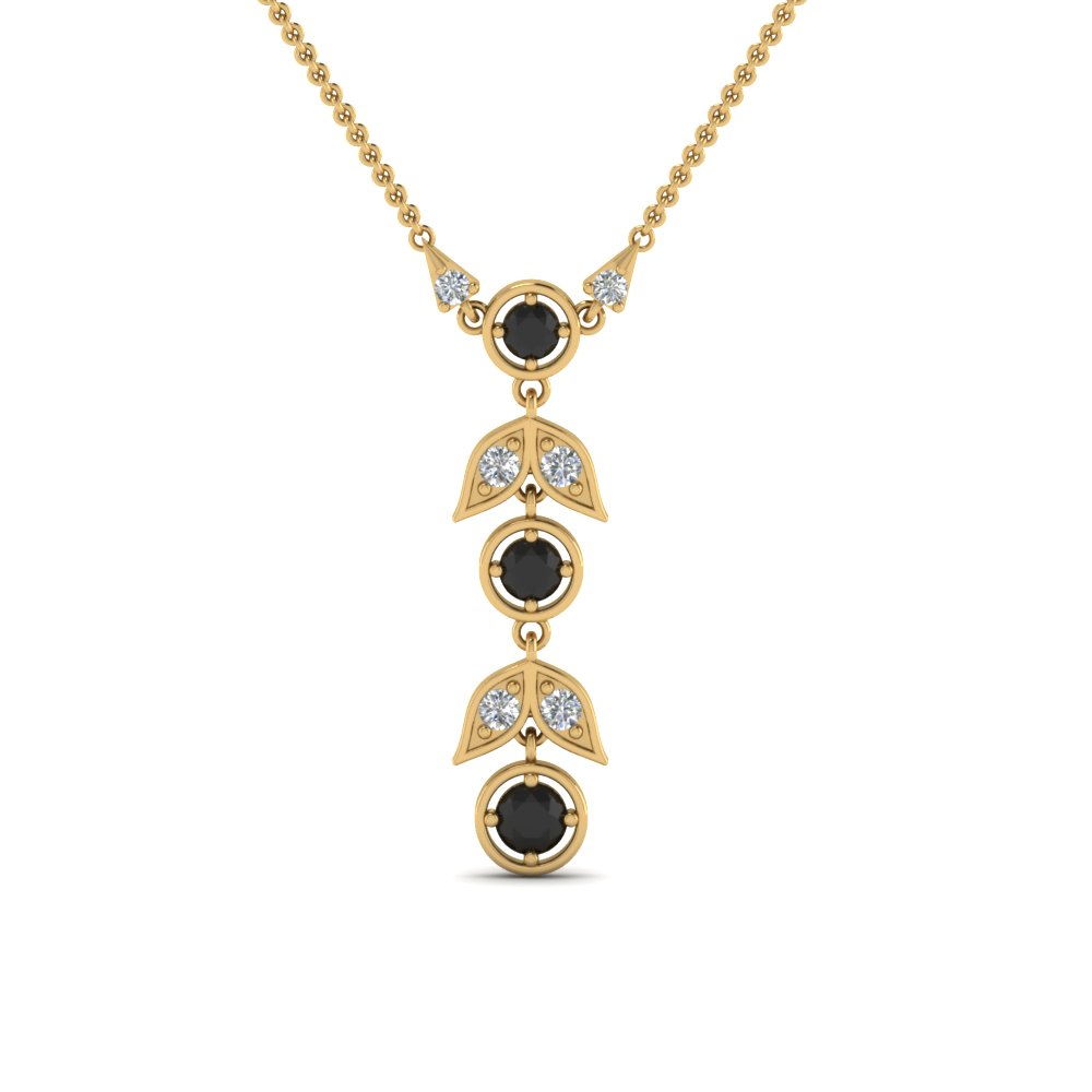 Petal Black Diamond Drop Necklace