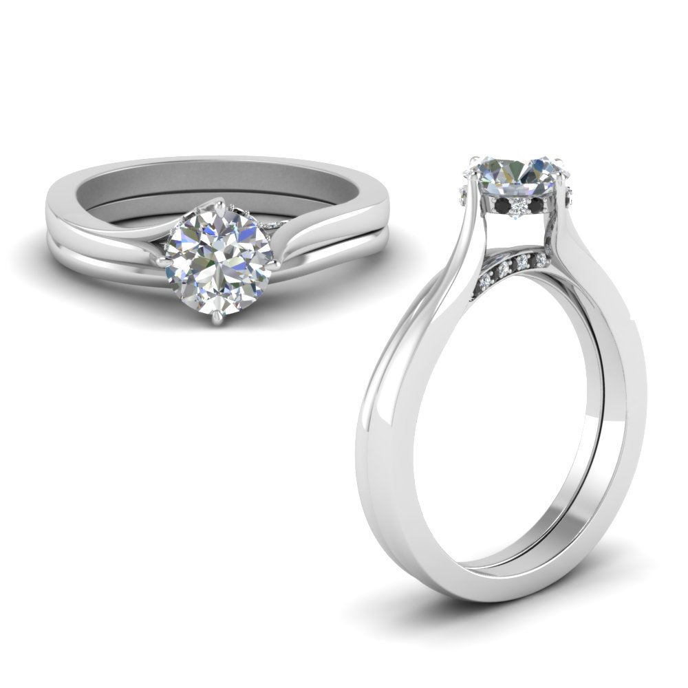 Solitaire Black Diamond Ring Set
