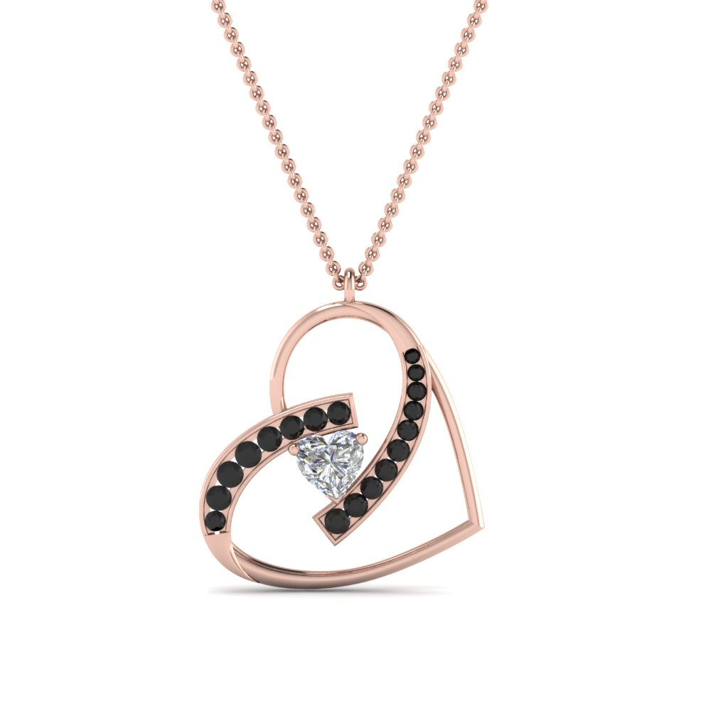 Open Heart Black Diamond Pendant