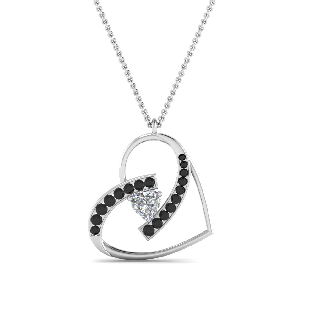 Black diamond with heart pendant in 950 platinum fascinating black diamond with heart pendant in fdpd8773gblackangle2 nl mozeypictures Images