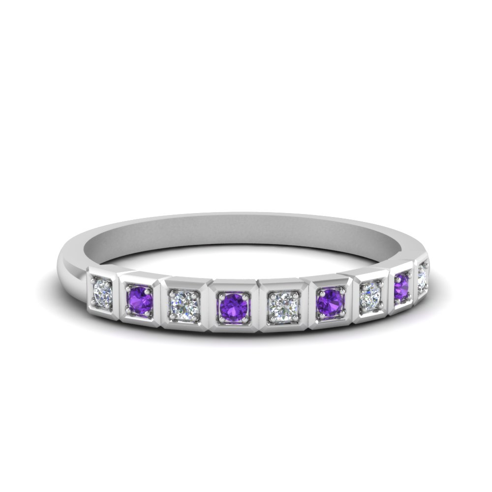 block pave diamond wedding band with violet topaz in white gold FDENS3047BGVITO NL WG