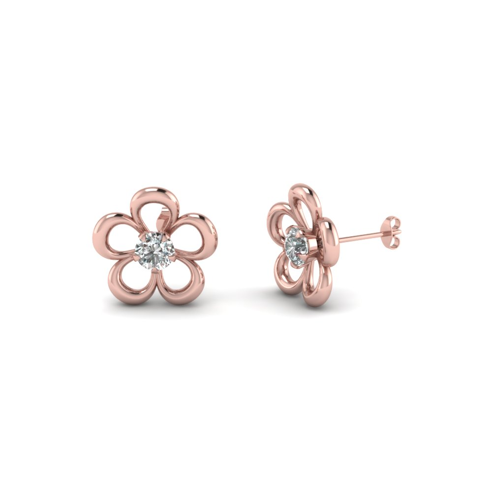 flower diamond stud earring in FDEAR1112 NL RG