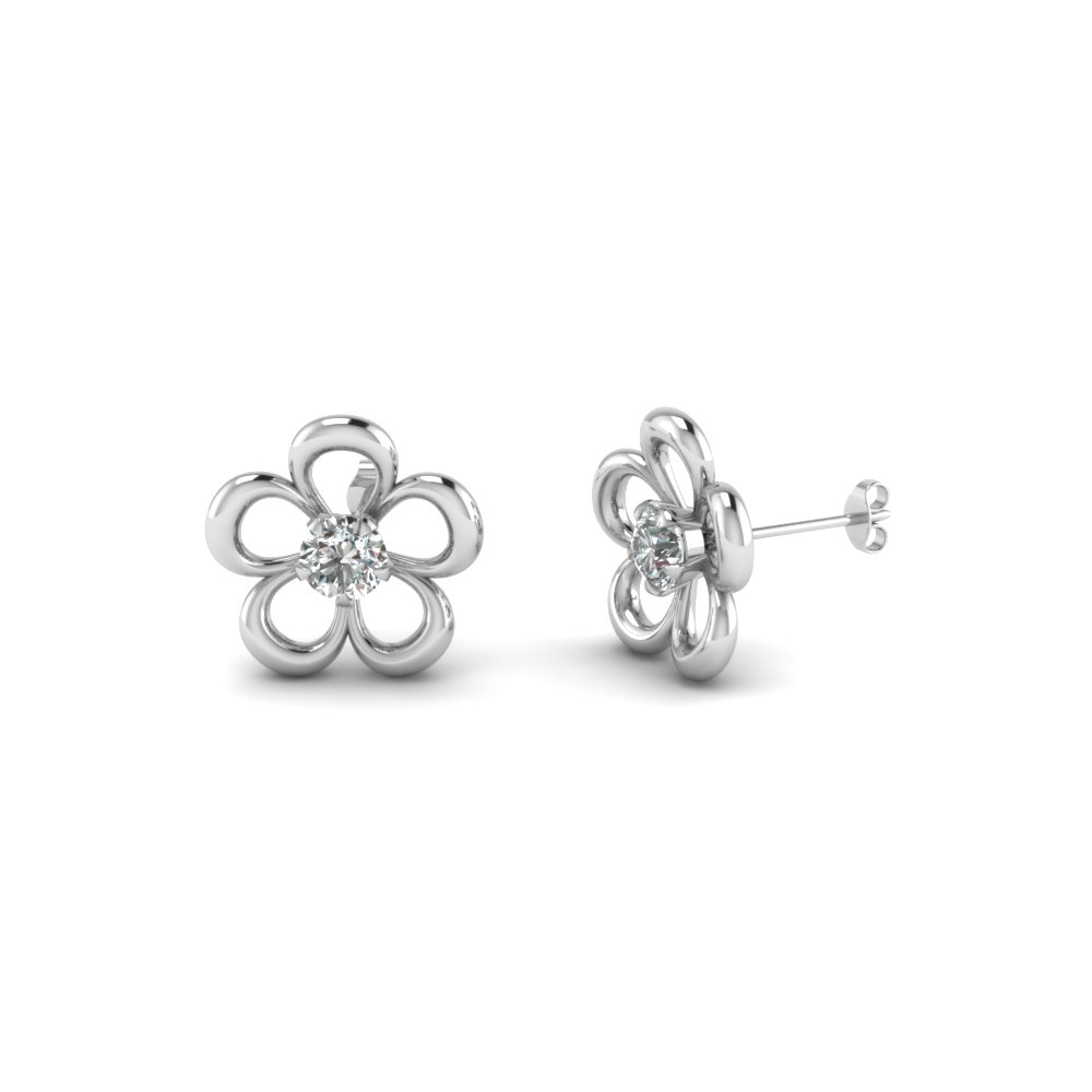 Flower Diamond Stud Earring In 14k White Gold Fascinating Diamonds