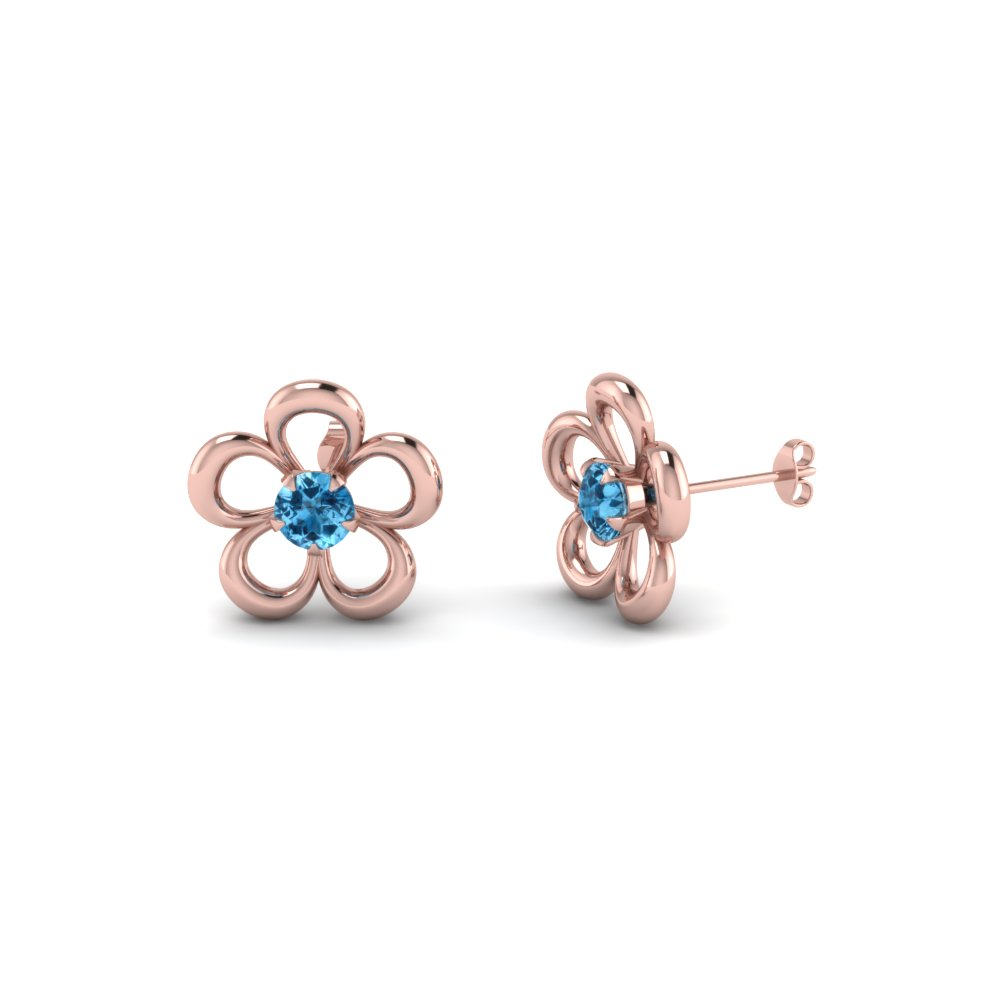 flower blue topaz stud earring for women in 14K rose gold FDEAR1112GICBLTO NL RG