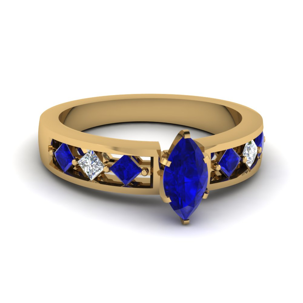 Marquise Sapphire Yellow Gold Gemstone Engagement Ring for Women