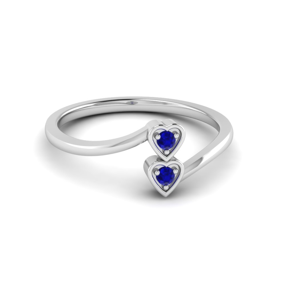 promise blue princess ring zirconia sapphire cute cubic cut product