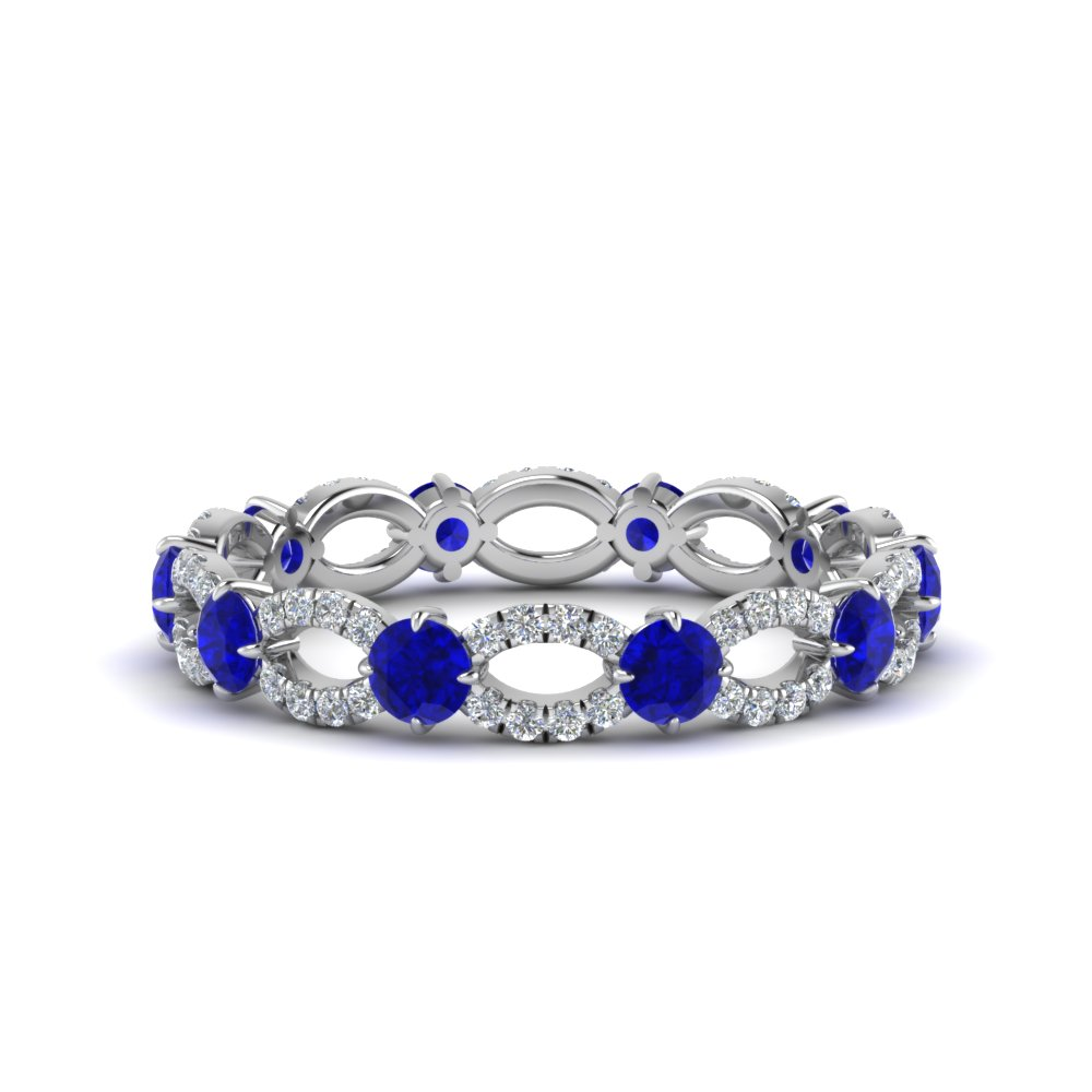 sapphire and diamond eternity ring in 18K white gold FDEWB8376 BGSABL NL WG