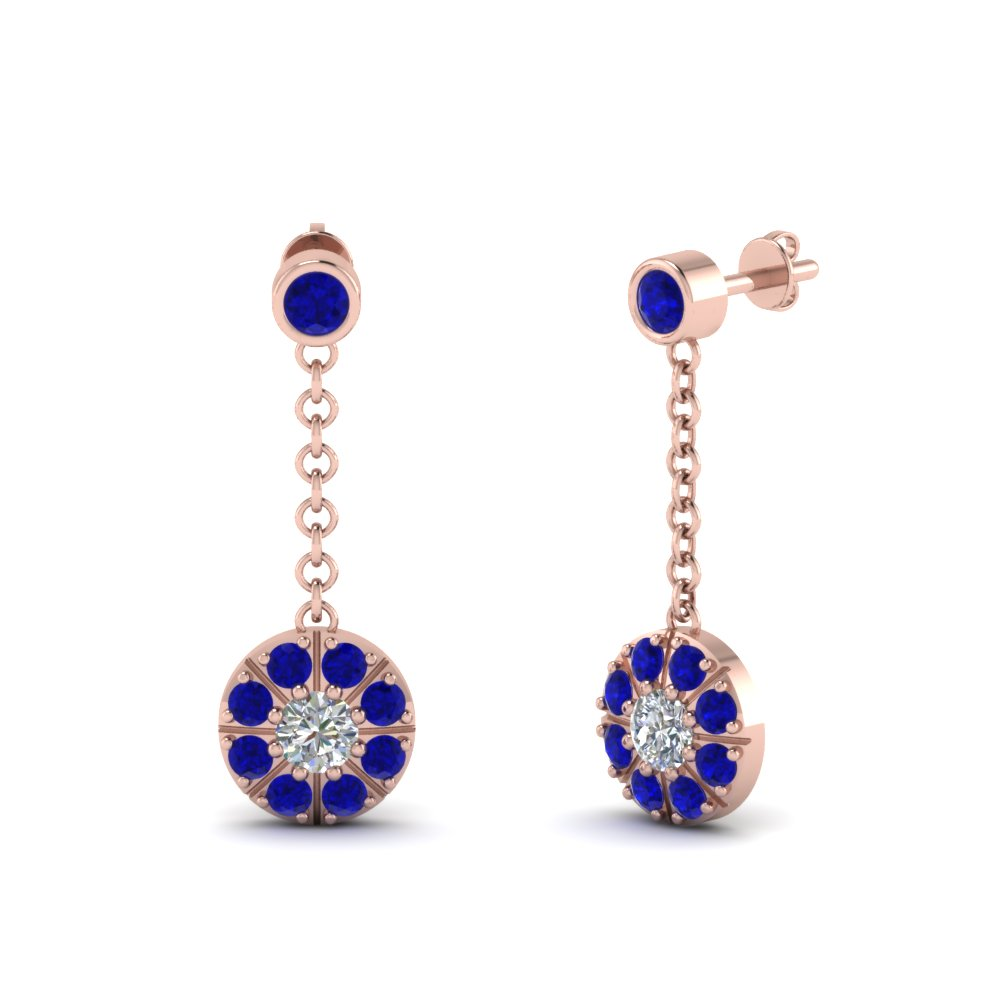 sapphire halo drop dangle diamond earring in FDEAR67096GSABL NL RG