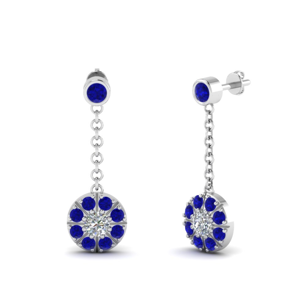 Sapphire Halo Drop Dangle Earring