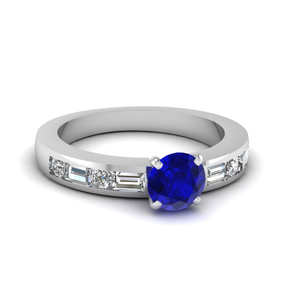 Sapphire Ring With Baguette Diamond