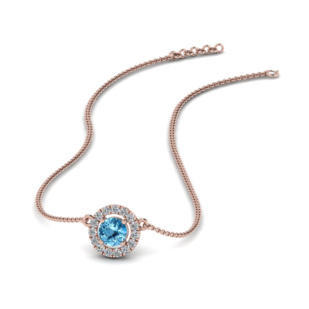 0.30 ct. diamond halo blue topaz pendant necklace in FDPD8997GICBLTO NL RG