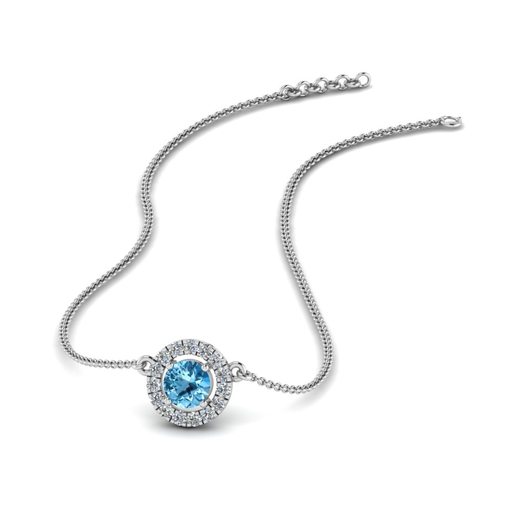 Blue Topaz Halo Pendant Necklace
