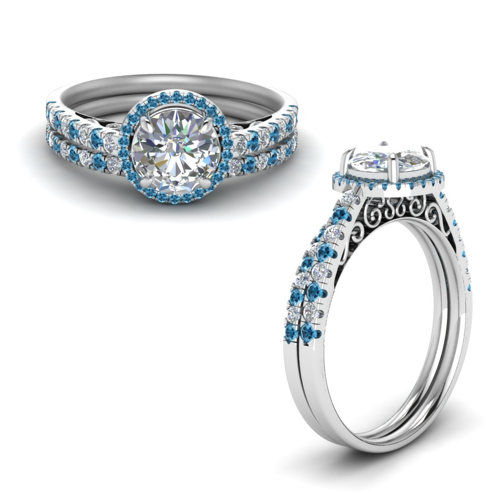 Pave Halo Vintage Bridal Set