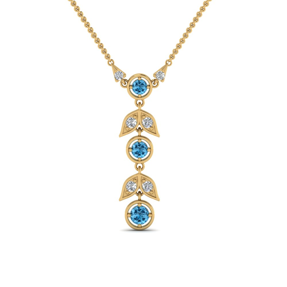 blue topaz petal diamond drop necklace in FDPD8598GICBLTOANGLE2 NL YG