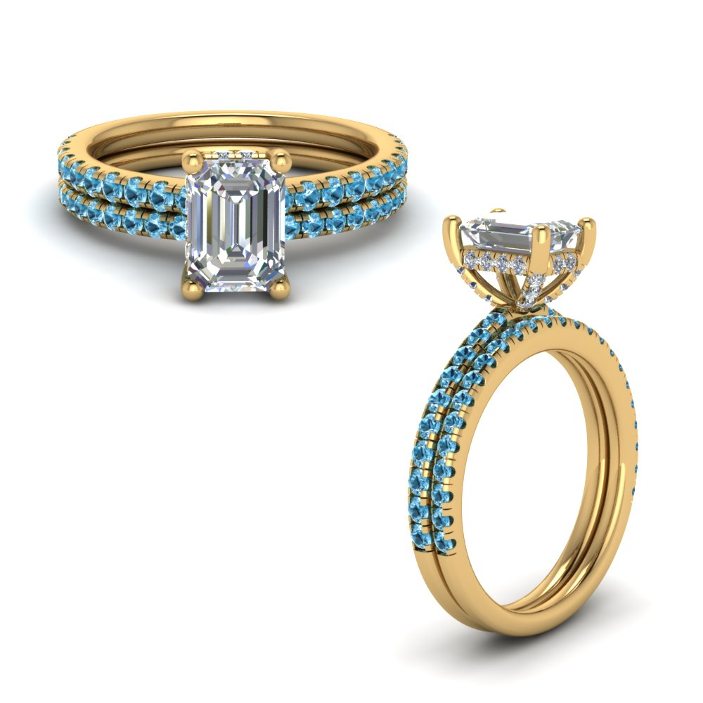 blue topaz prong emerald cut diamond petite bridal set in FD8523EMGICBLTOANGLE1 NL YG GS