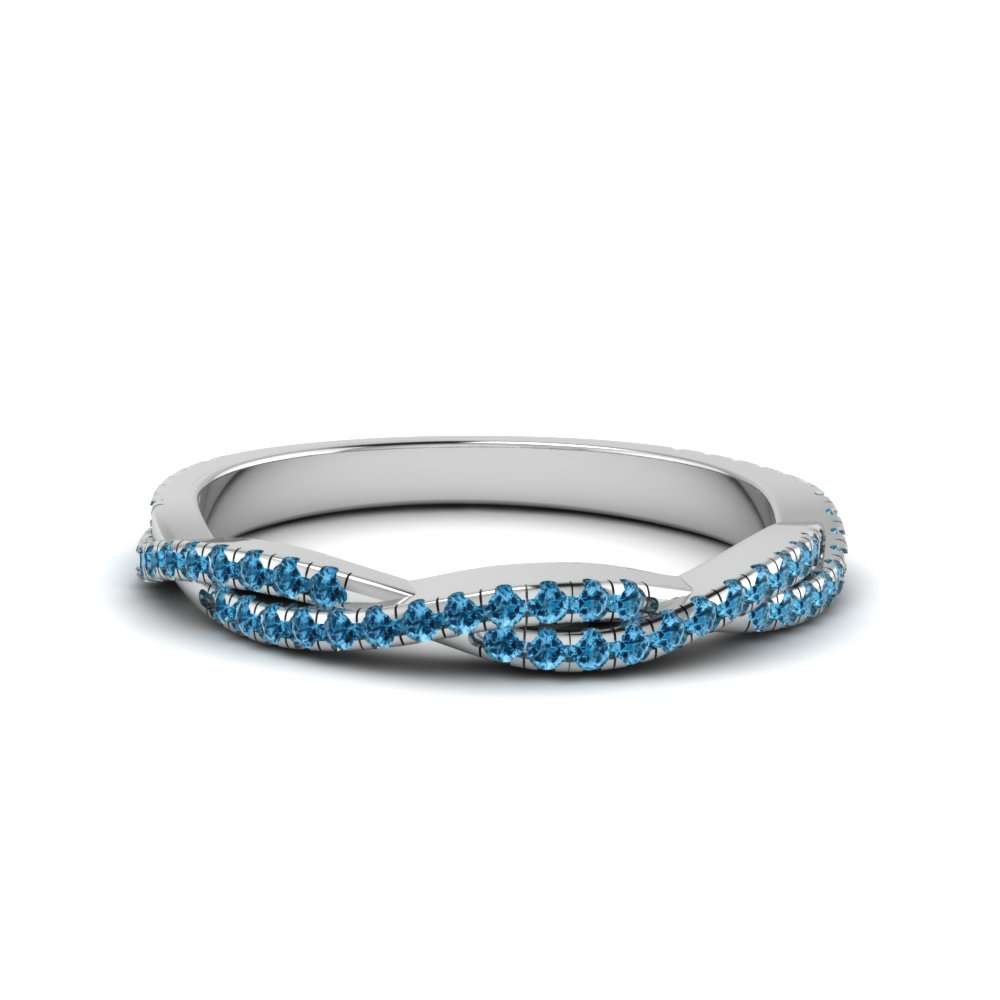 Blue Topaz Twist Wedding Band In Fd8233bgicblto Nl Wg Gs