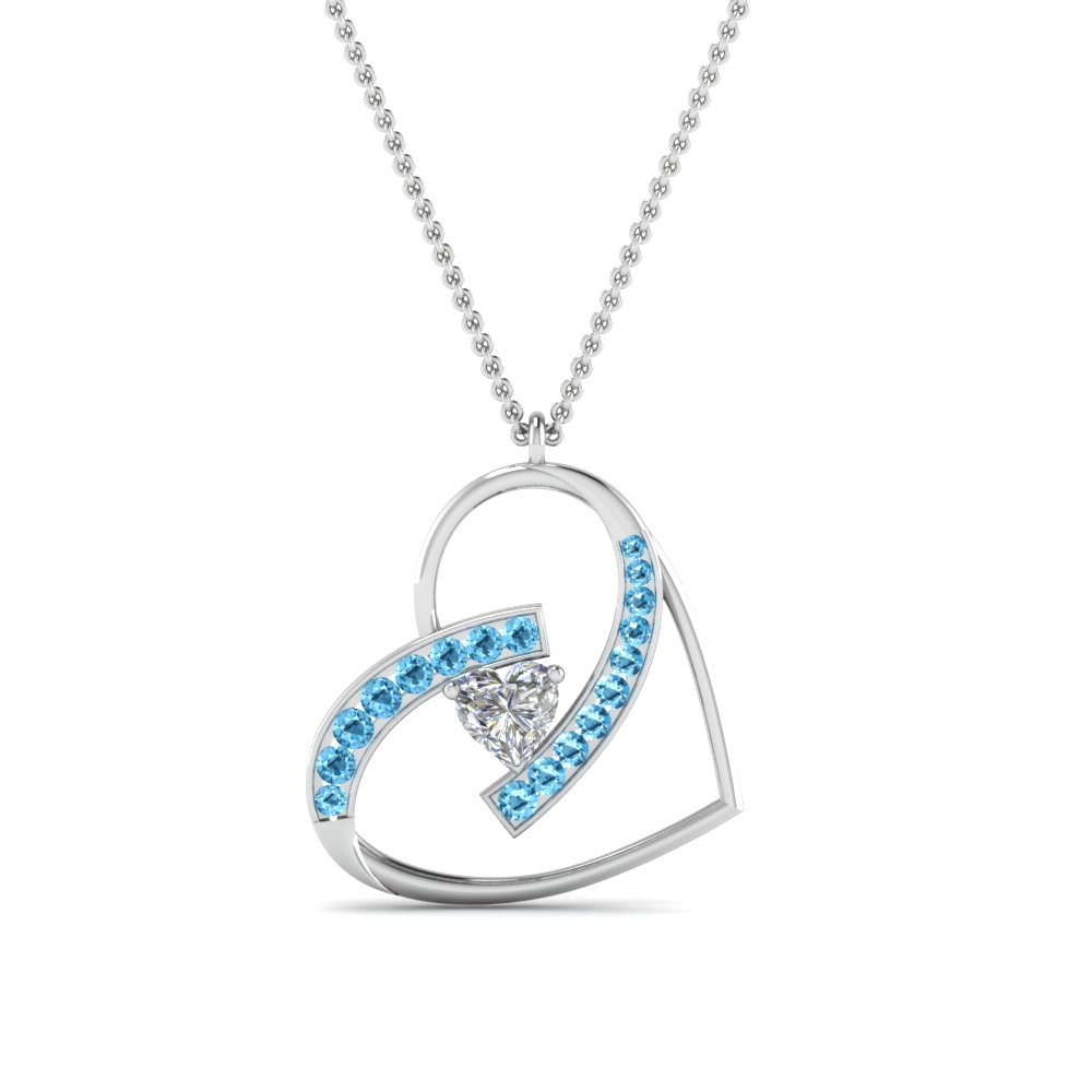 blue topaz with heart diamond pendant in 14K white gold FDPD8773GICBLTOANGLE2 NL WG