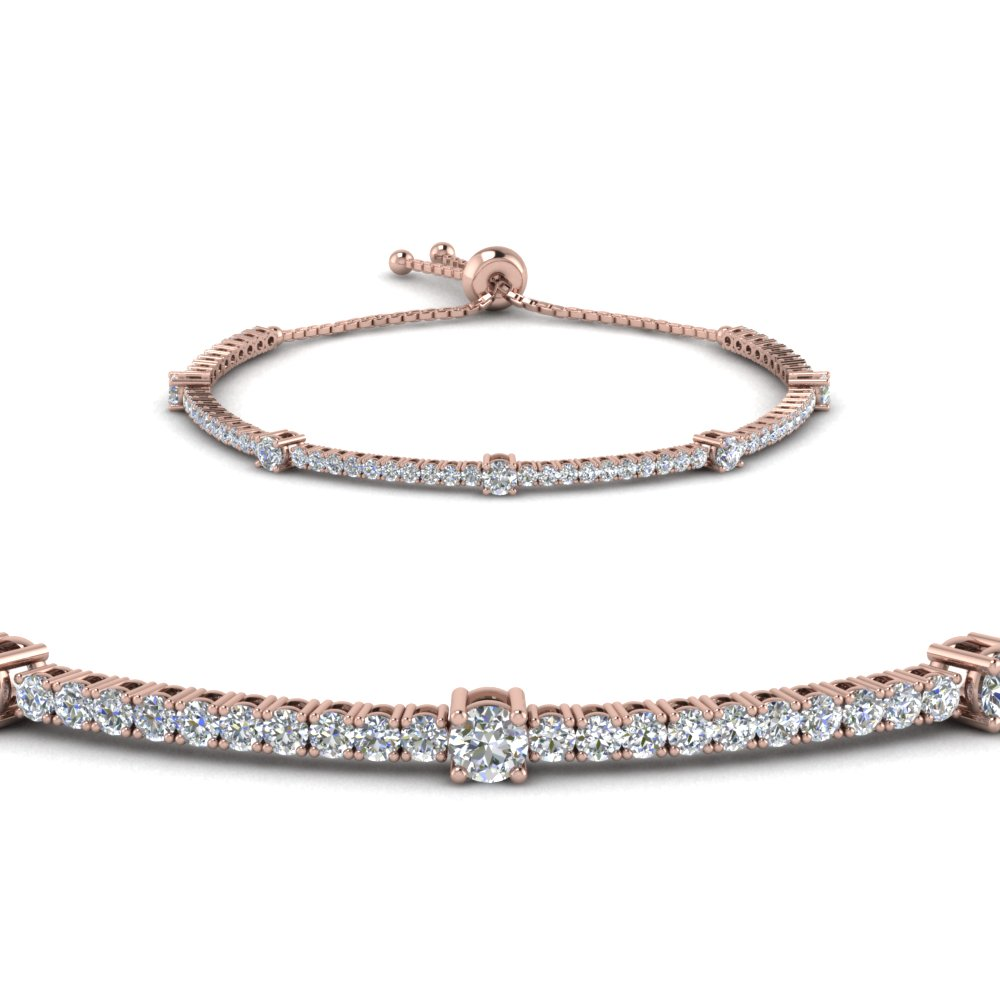 14k Rose Gold Bolo Design Tennis Diamond Bracelet