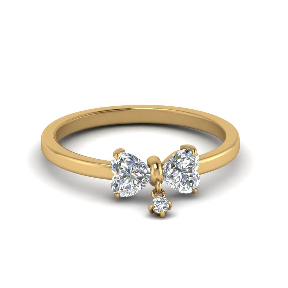Bow 2 Heart Diamond Promise Engagement Ring In 14K Yellow Gold