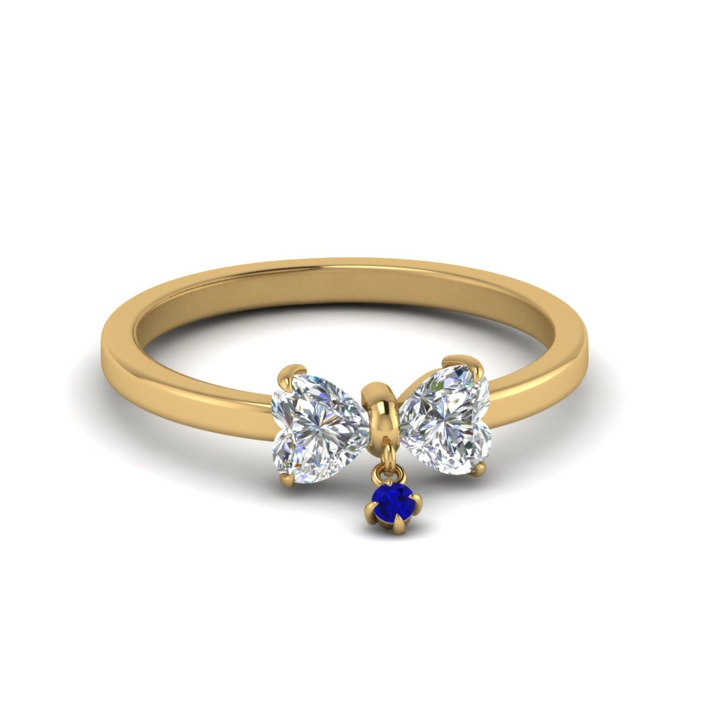Bow 2 Heart Diamond Promise Engagement Ring With Blue Sapphire In 14K Yellow Gold