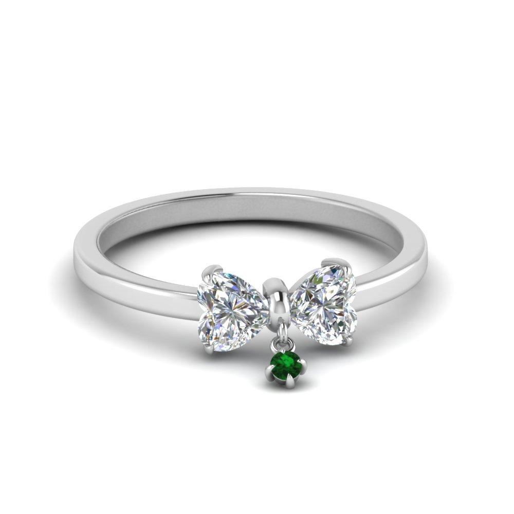 bow 2 heart diamond promise ring with emerald in FD8239HTRGEMGR NL WG