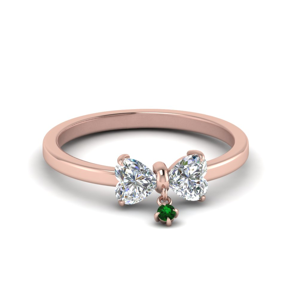 Bow 2 Heart Diamond Promise Engagement Ring With Emerald In 18K Rose Gold