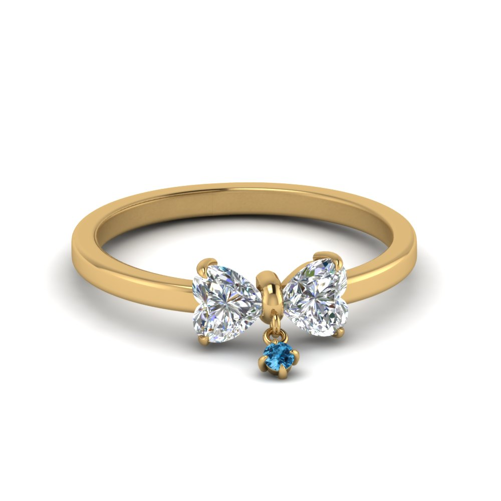 Bow 2 Heart Diamond Promise Engagement Ring With Ice Blue Topaz In 14K Yellow Gold