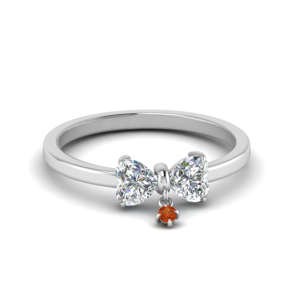 Bow 2 Heart Diamond Promise Engagement Ring With Orange Sapphire In 14K White Gold