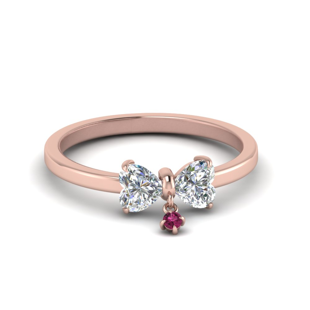 Bow 2 Heart Diamond Promise Engagement Ring With Pink Sapphire In 14K Rose Gold