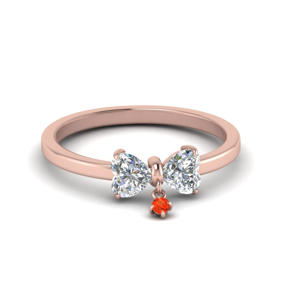 Bow 2 Heart Diamond Promise Engagement Ring With Poppy Topaz In 14K Rose Gold