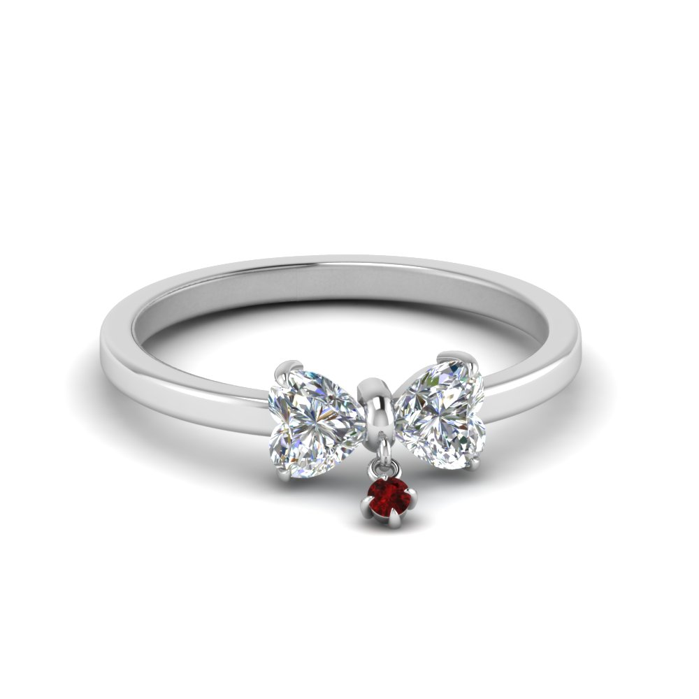 Bow 2 Heart Diamond Promise Engagement Ring With Ruby In 14K White Gold
