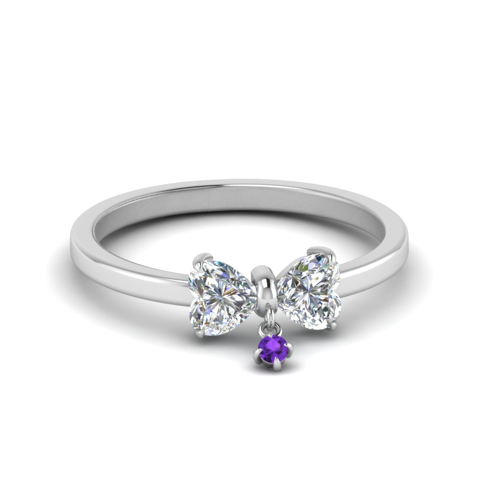 2 Heart Promise Ring With Purple Topaz