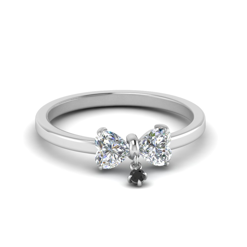 Bow 2 Heart Promise Engagement Ring With Black Diamond In 14K White Gold