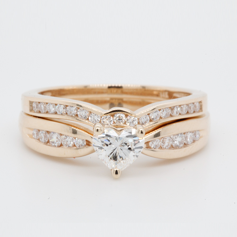71d869e4103cf Bow Channel Diamond Wedding Ring Set In 14K Yellow Gold