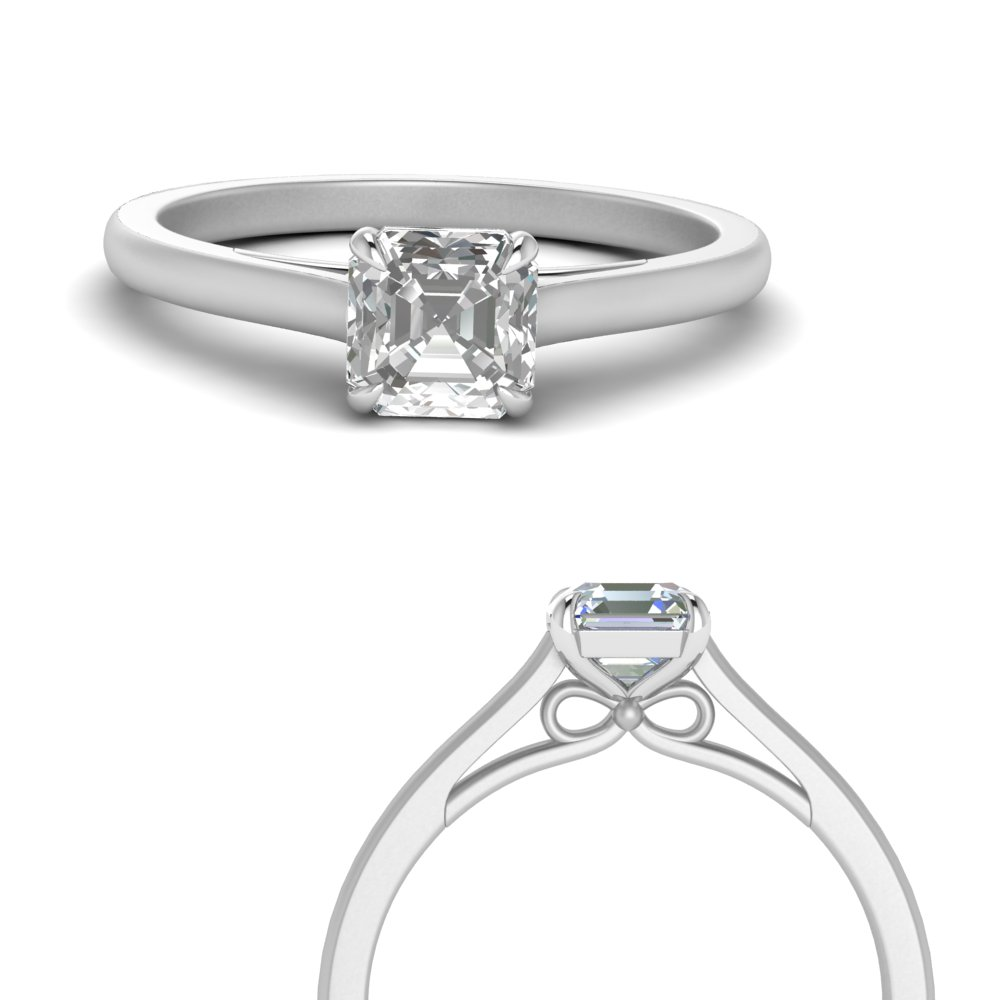 bow design asscher cut solitaire engagement ring in 14K white gold FD123453ASRANGLE3 NL WG