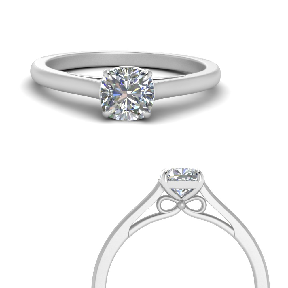 bow design cushion cut solitaire engagement ring in 14K white gold FD123453CURANGLE3 NL WG