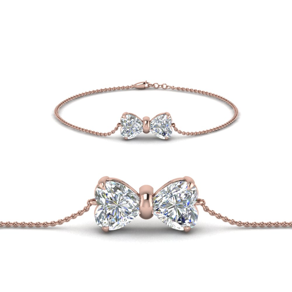 bow design diamond bracelet in 14K rose gold FDBRC8336 NL RG