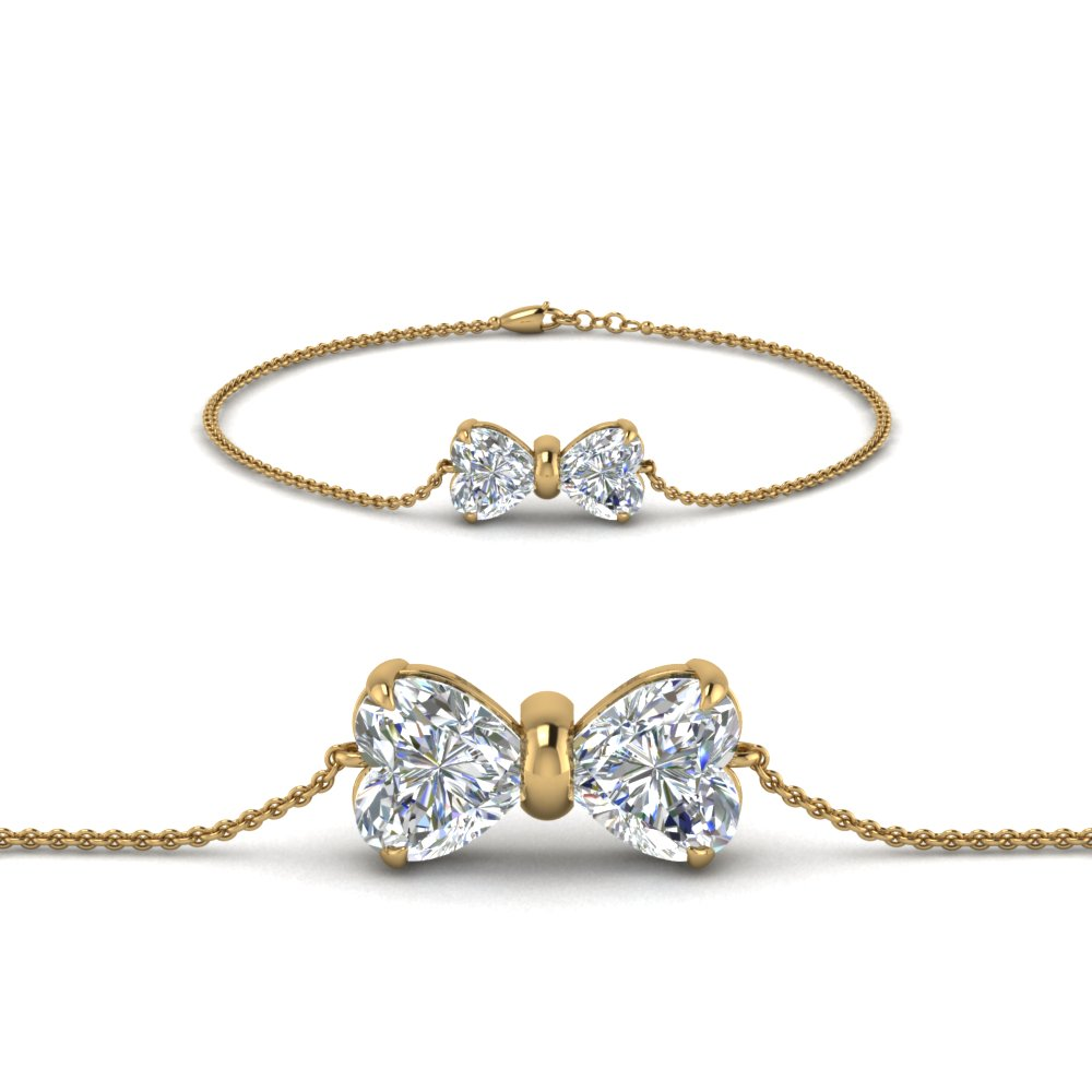 Bow Design Diamond Bracelet In 14K Yellow Gold