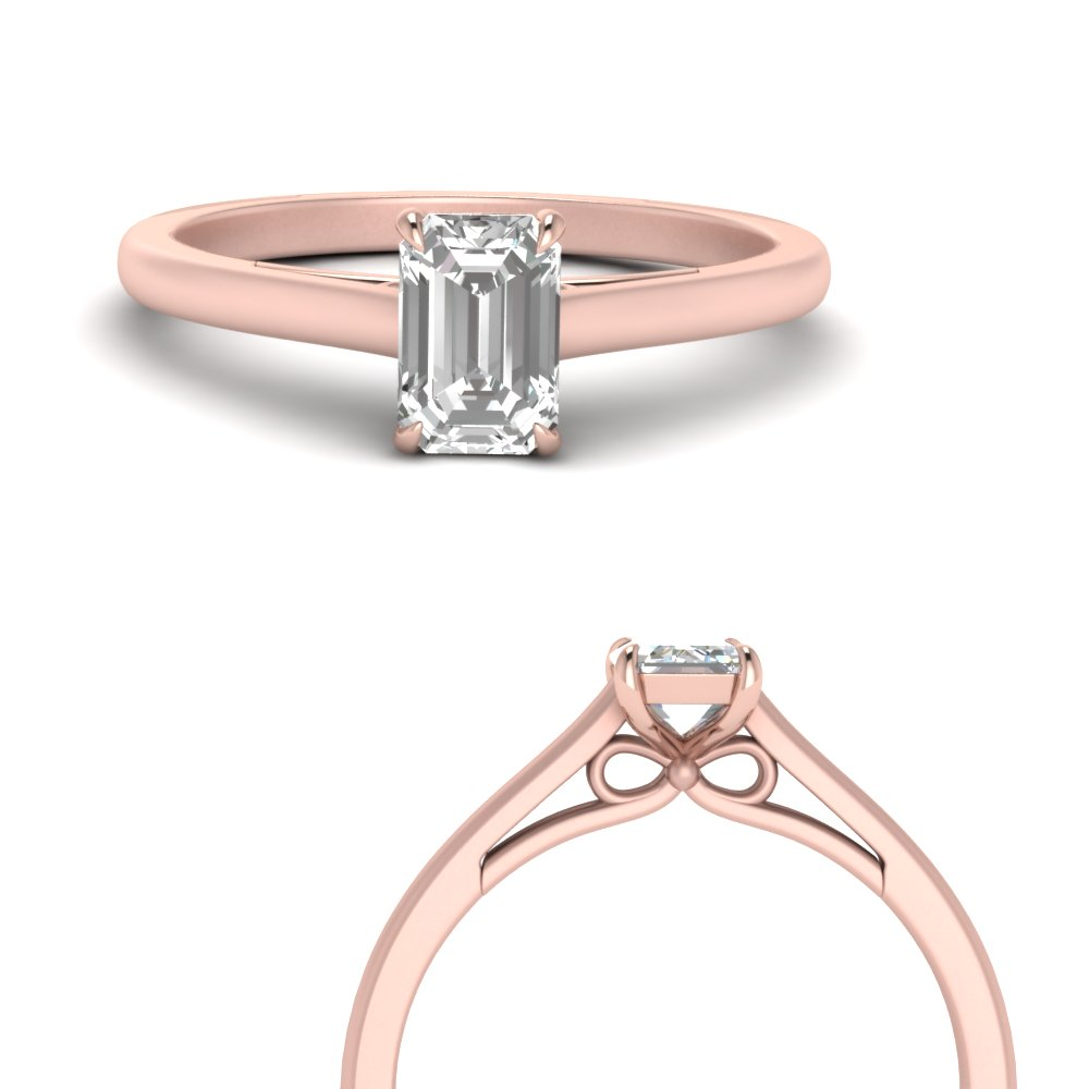 bow design emerald cut solitaire engagement ring in 14K rose gold FD123453EMRANGLE3 NL RG
