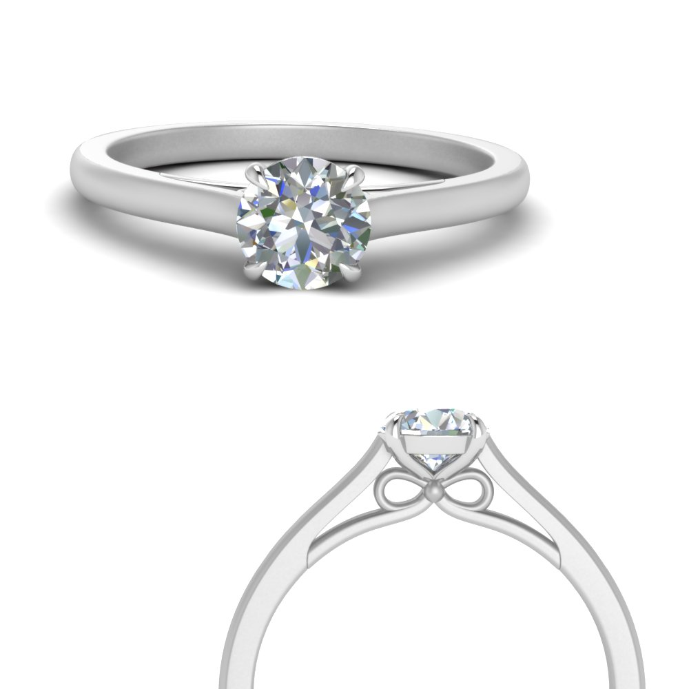 bow design round cut solitaire engagement ring in 950 platinum FD123453RORANGLE3 NL WG