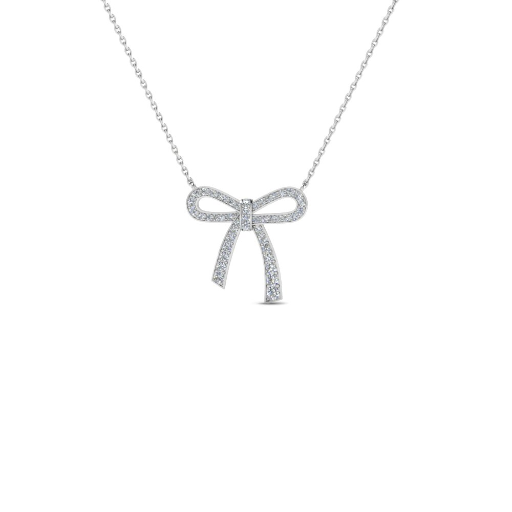 bow diamond pendant necklace for women in 14K white gold FDPD2669 NL WG