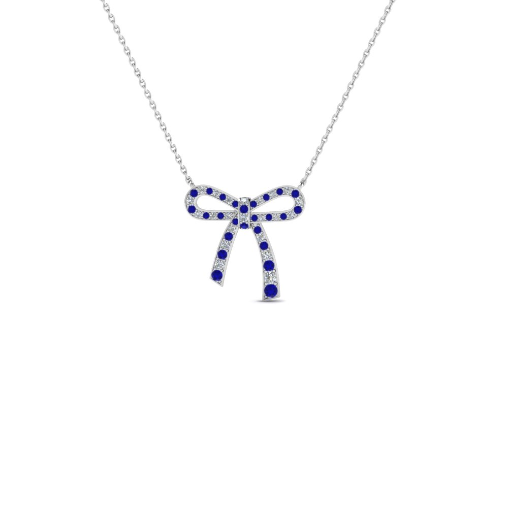 bow diamond pendant necklace for women with blue sapphire in 14K white gold FDPD2669GSABL NL WG