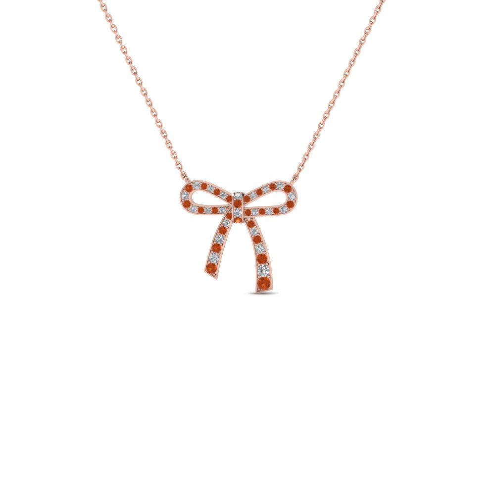 bow diamond pendant necklace for women with orange sapphire in 18K rose gold FDPD2669GSAOR NL RG