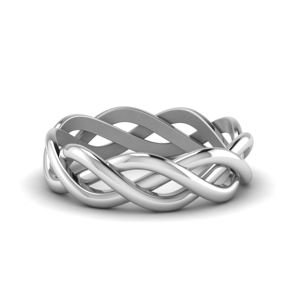 Braided Gold Wedding Ring In 14K White Gold | Fascinating Diamonds