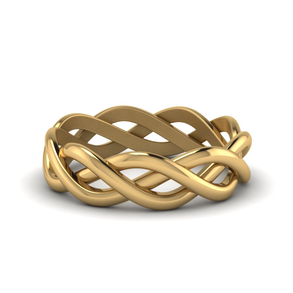 braided gold wedding ring in FDHM342MB NL YG
