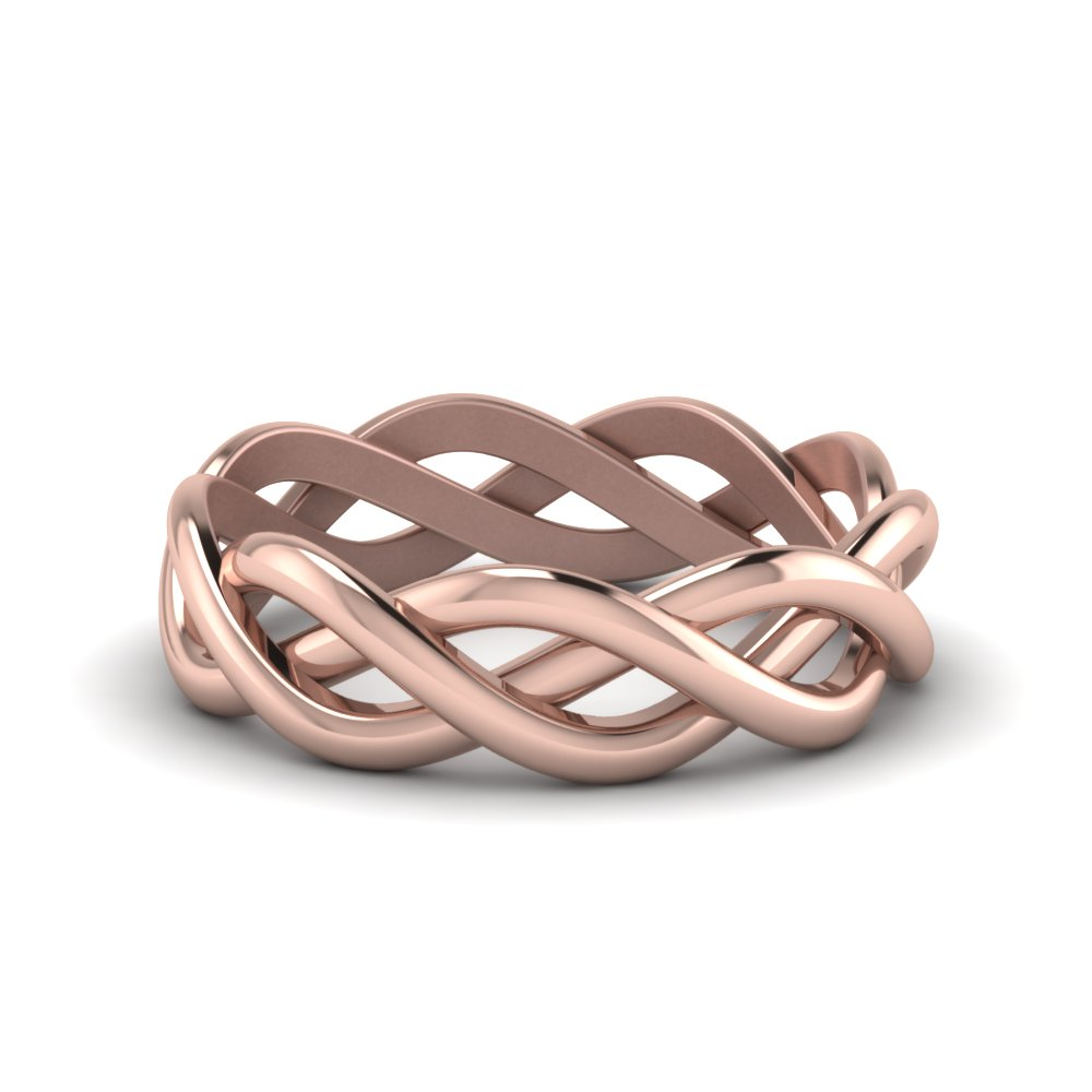 braided gold wedding ring in 18K rose gold FDHM342MB NL RG