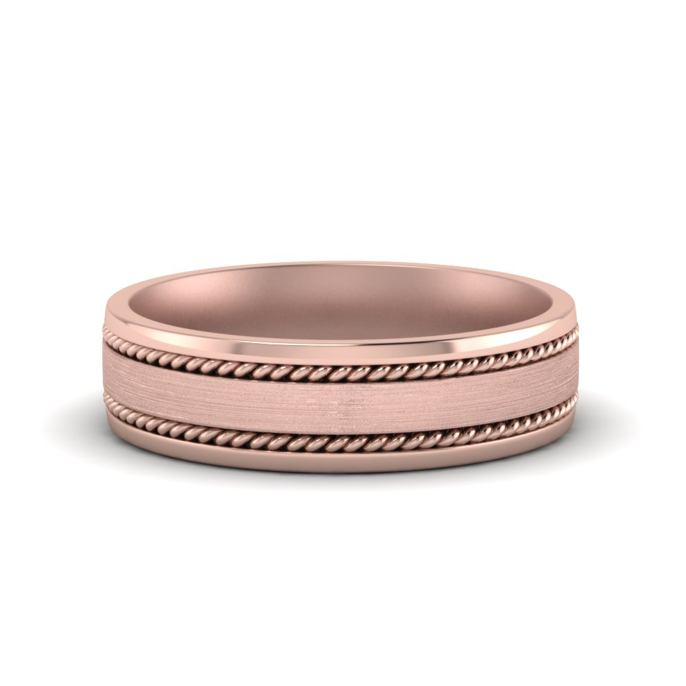 Rose Gold Braided Mens Band