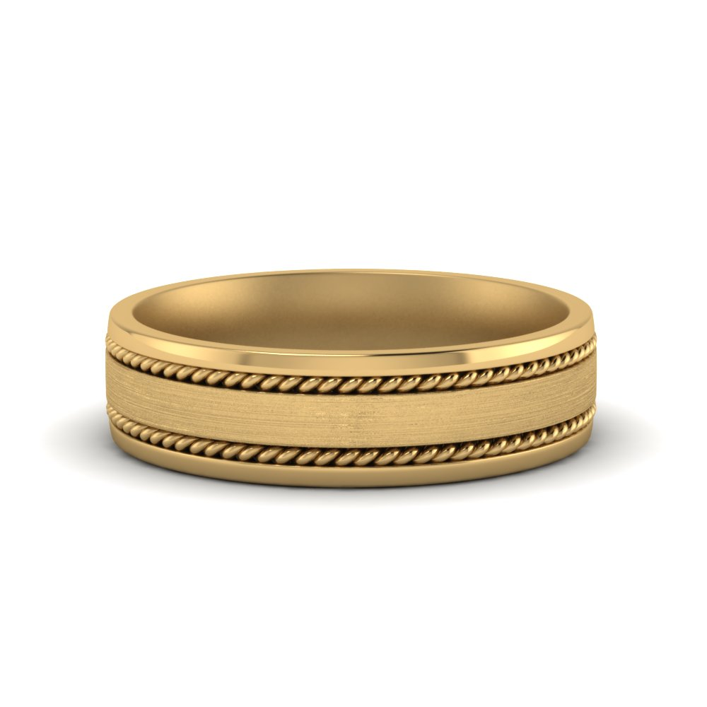 Braided Mens Yellow Gold Ring