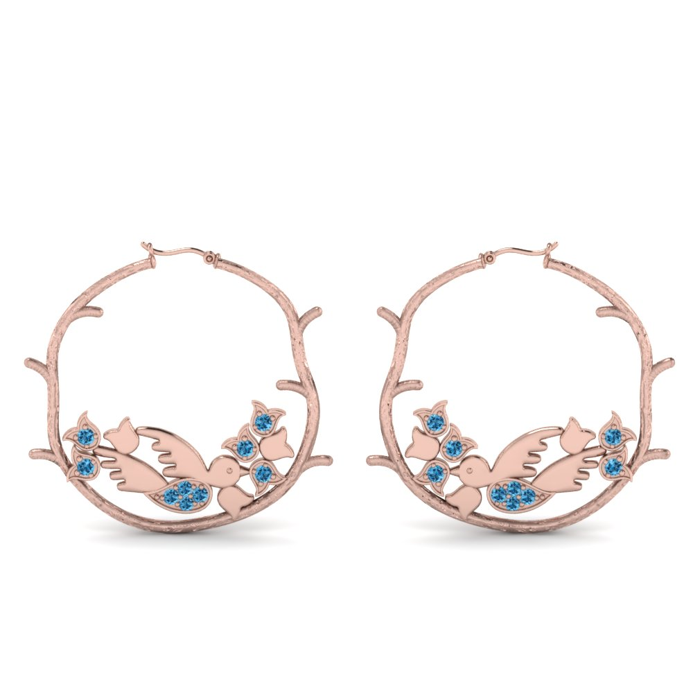 branch bird hoop blue topaz earring in 14K rose gold FDEAR8861GICBLTOANGLE1 NL RG